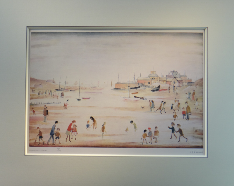 lowry on the sands print mounted