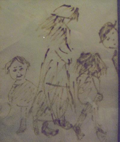 lowry figures ink original drawing