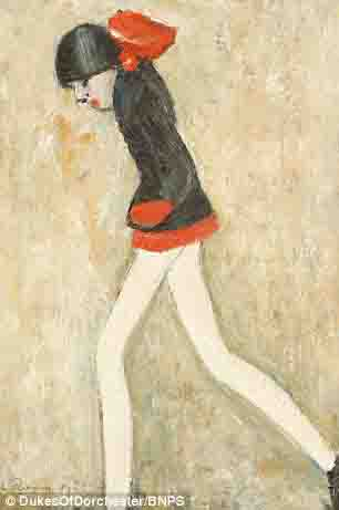 lowry girl in a red dress original painting