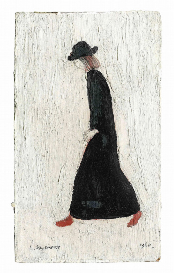 lowry girl with red shoes original painting