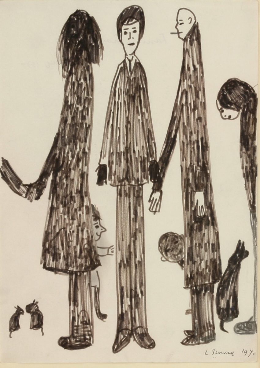 lowry group of figures with animals drawing