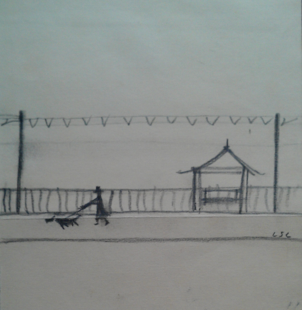 lowry man walking his dog original drawing, letter, book