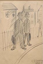 lowry,rent collectors, original, drawing