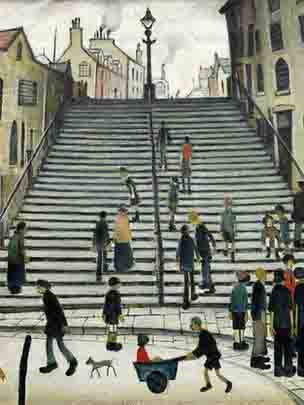 lowry, Steps at Wick, painting