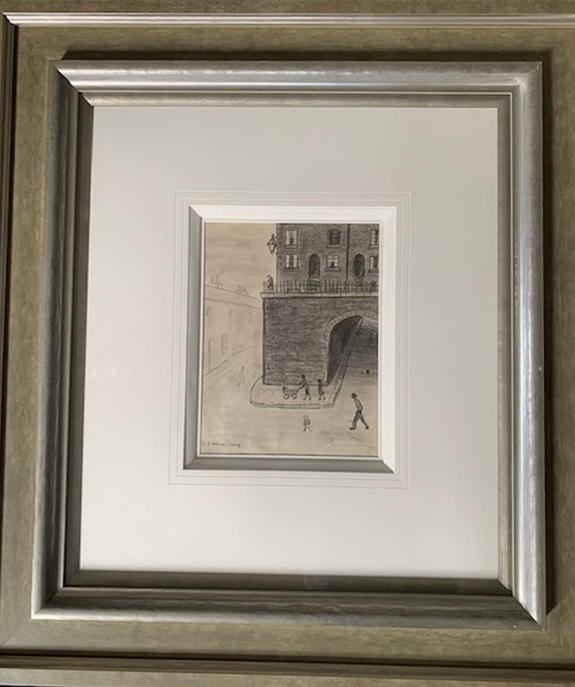 lowry, original, drawing, street scene 1957