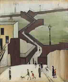lowry town steps Maryport original painting