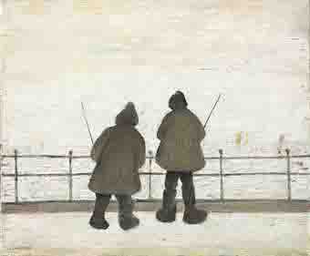 lowry two anglers original painting