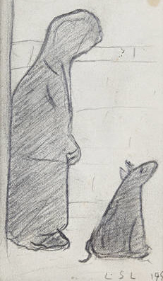 lowry woman and dog original painting