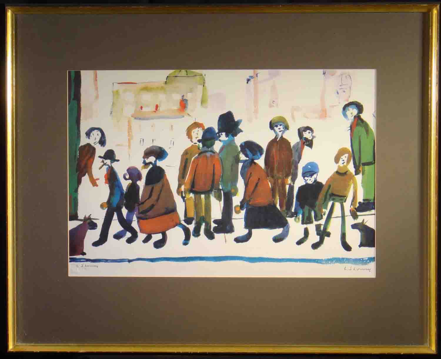 lowry, people standing about, framed, signed print lslowry