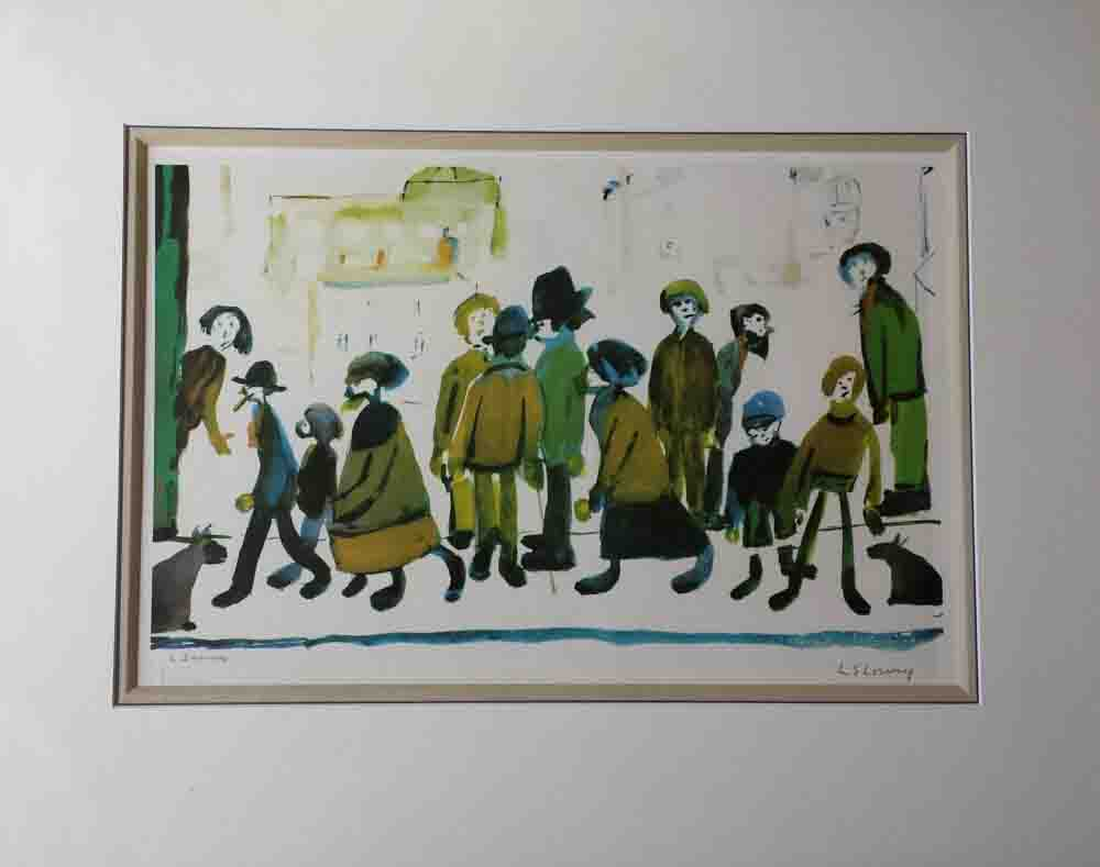 lowry, people standing about, signed print faded