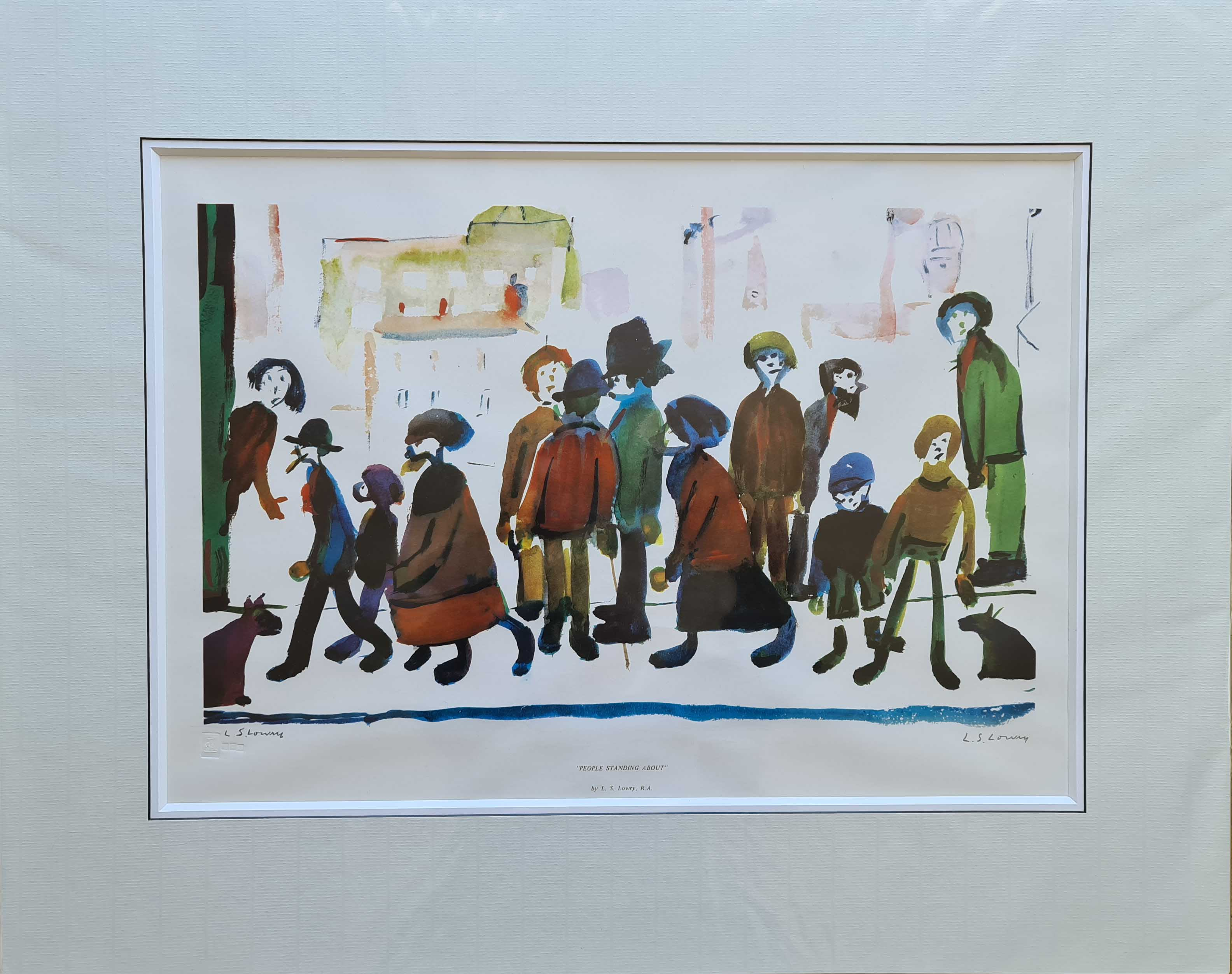 lowry, people standing about, signed print lslowry
