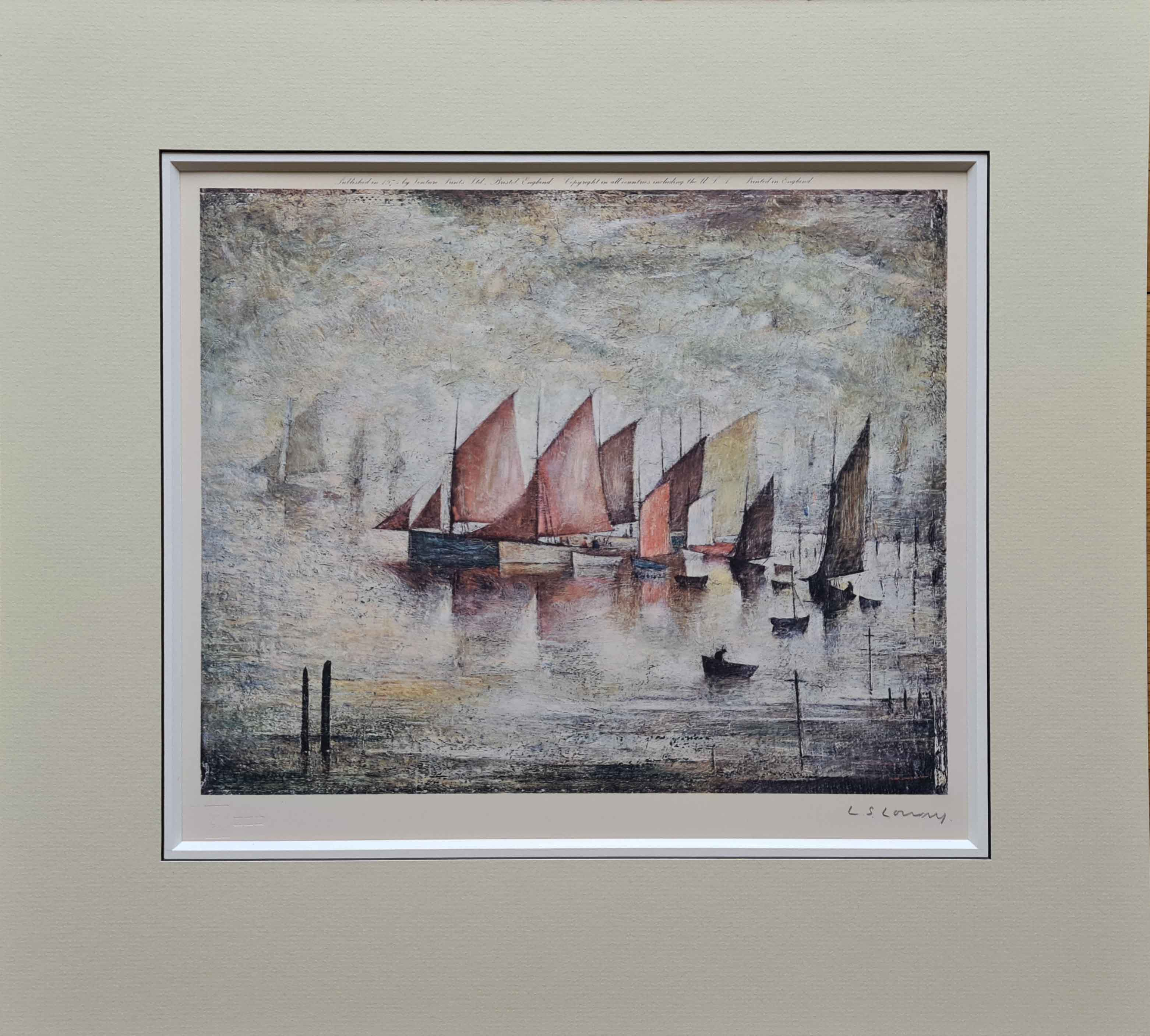 lowry, Sailing Boats, signed print lslowry