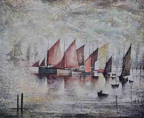 lowry, signed, prints, sailing boats