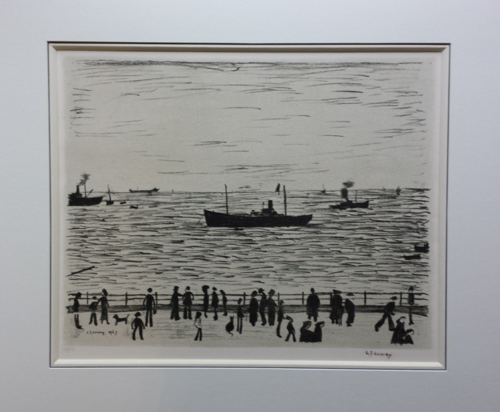 seaside promenade print lowry french bound mount