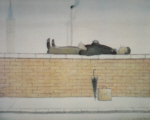 ls lowry man lying on a wall signed print