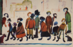 lowry, signed, prints, people standing about