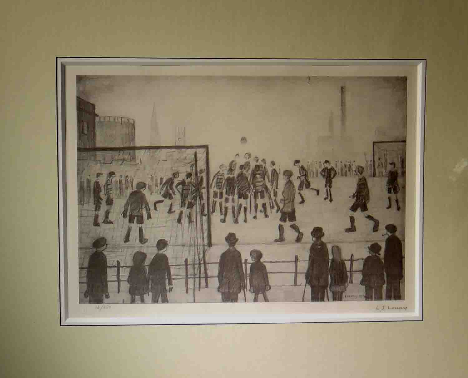 lowry, signed limited edition print, The Football Match