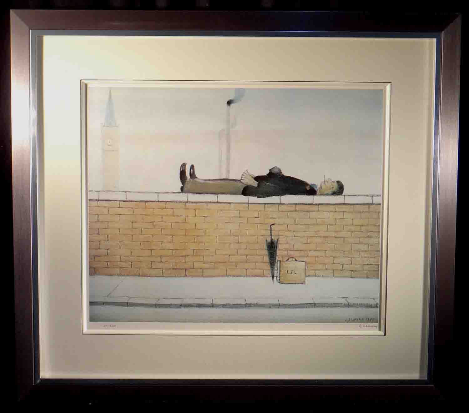 lowry, Man lying on a wall, signed print lslowry