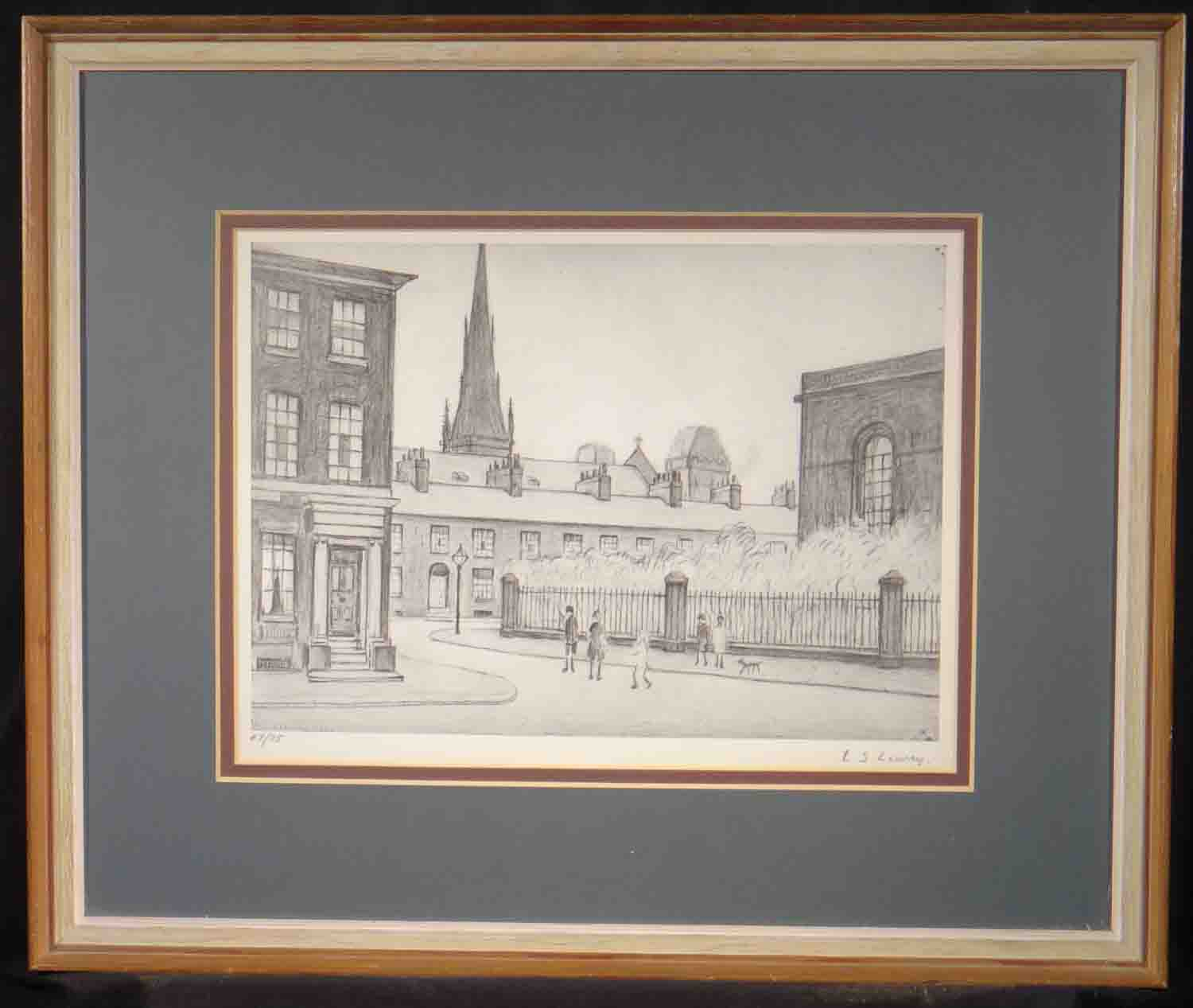 lowry, St. Philip's Church, Salford, signed print lslowry