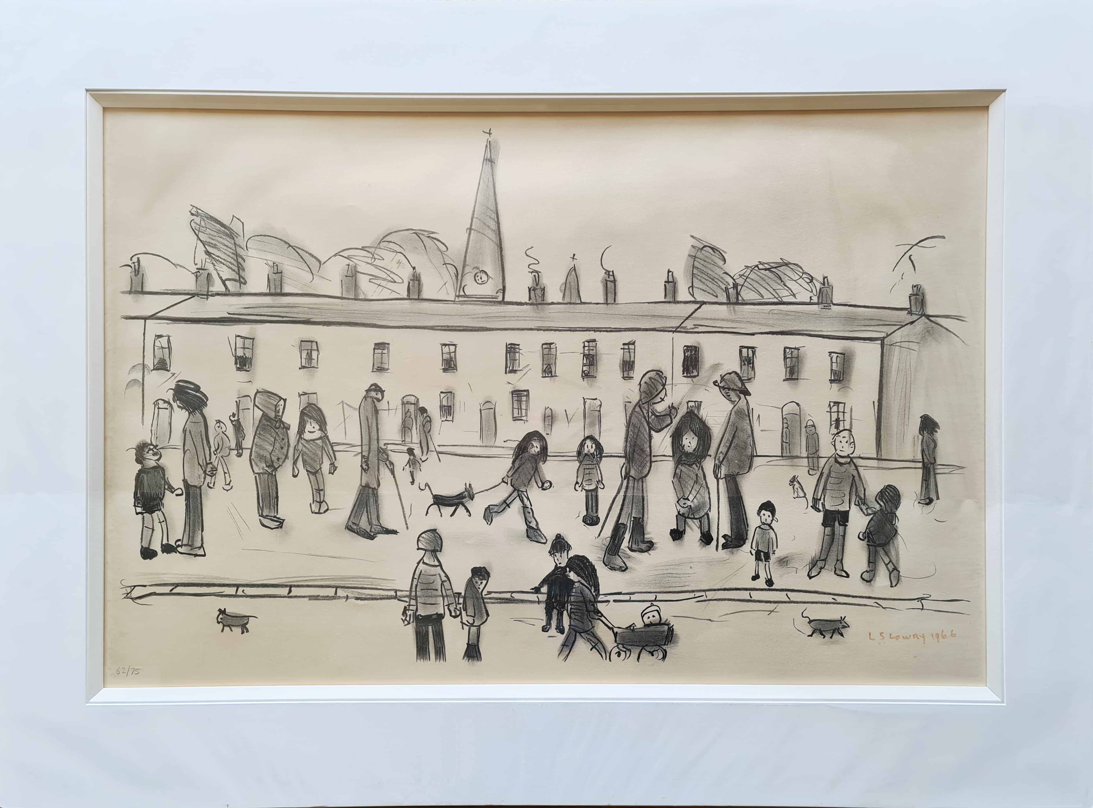lowry Streetfull of People, signed print lslowry