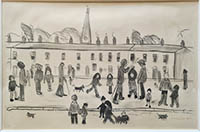 ls lowry street full of people print