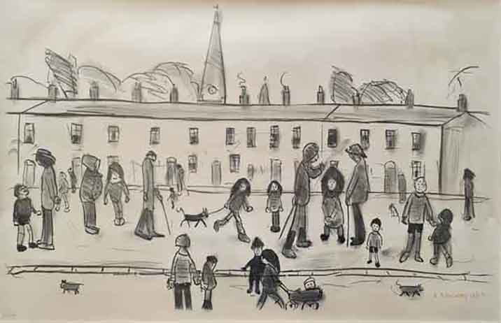 Lowry original signed limited edition lithograph, A street full of people