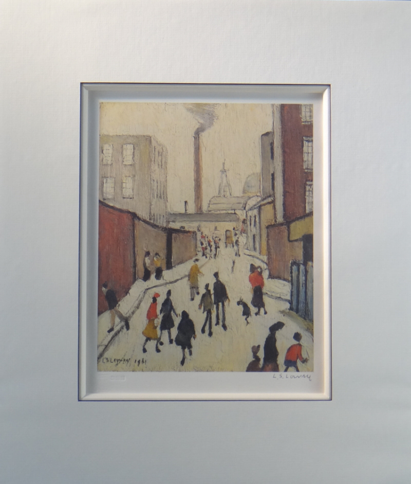 lowry street scene signed print mounted
