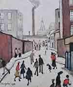lowry, signed, prints, street scene