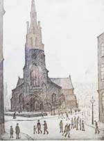 lowry, signed, prints, st. simon's church