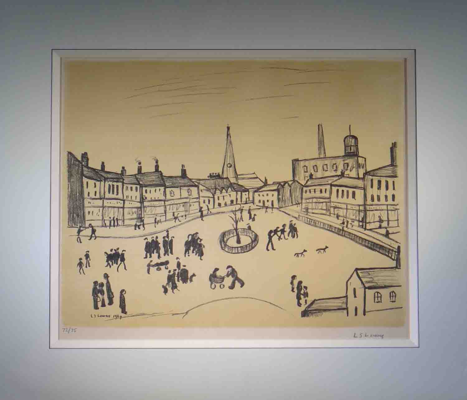 Lowry tree in a square signed print lslowry