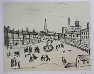 Tree in a square, Lowry original signed limited edition lithograph