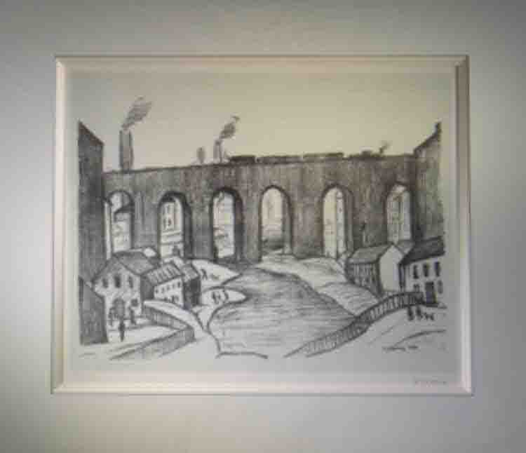 Lowry original signed limited edition lithograph prints, Viaduct Salford