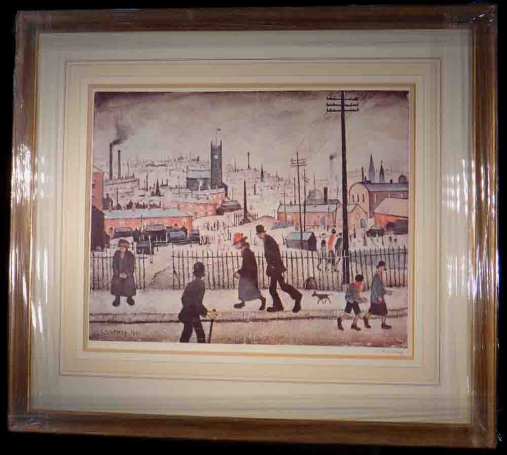 lowry view of a town french bound framed