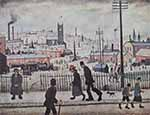 lowry, signed, prints, view of a town