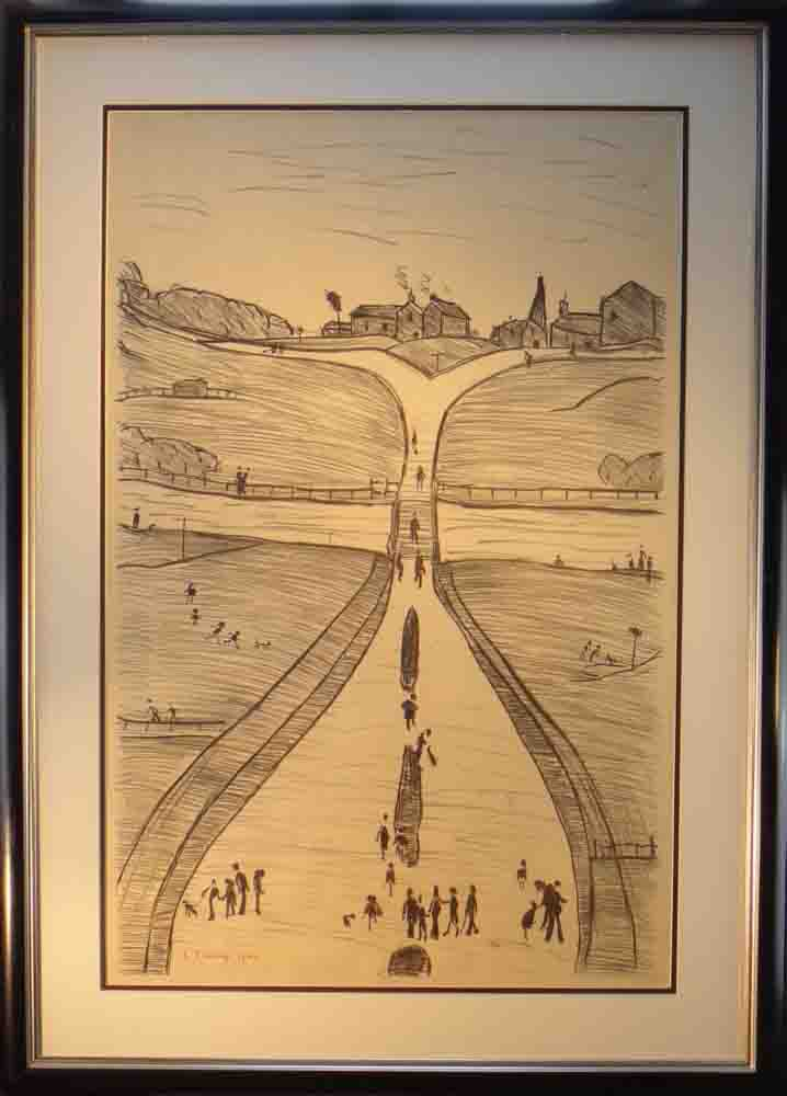 lowry lithograph village on a hill framed