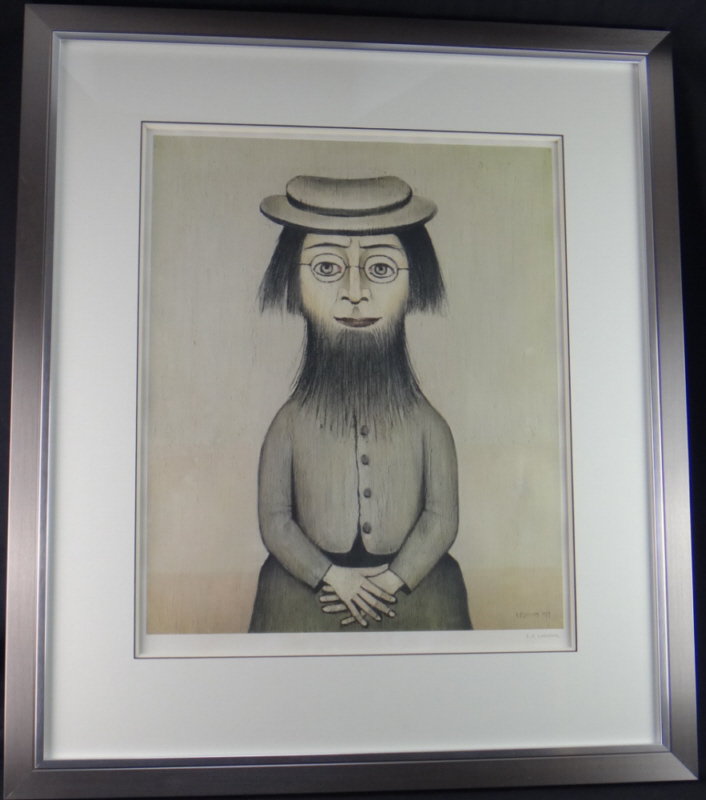 Lowry woman with beard signed print framed