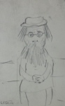 lowry signed prints, woman with beard sketch