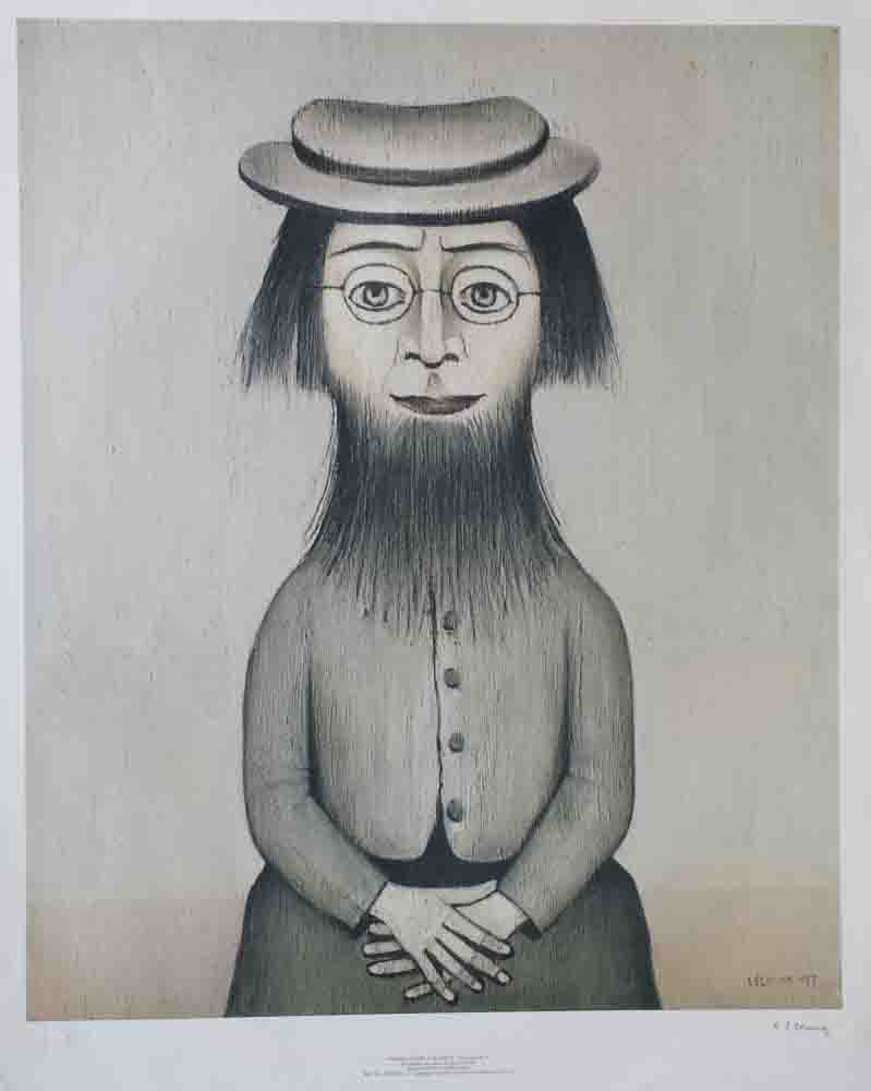 Lowry woman with beard signed print