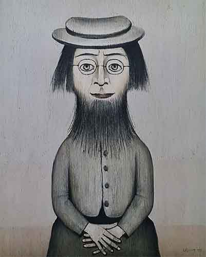 lowry signed prints, woman with beard